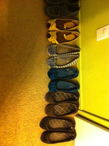 All the flats I could wear when my cast was first removed. With some effort, I can wear a few heels now too.