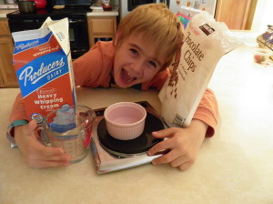 Recently, I taught Oscar to make ganache. As you can see, he was eager to learn.